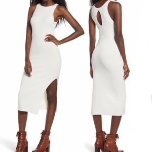 Leith Ribbed Bodycon Keyhole Midi Dress in Ivory